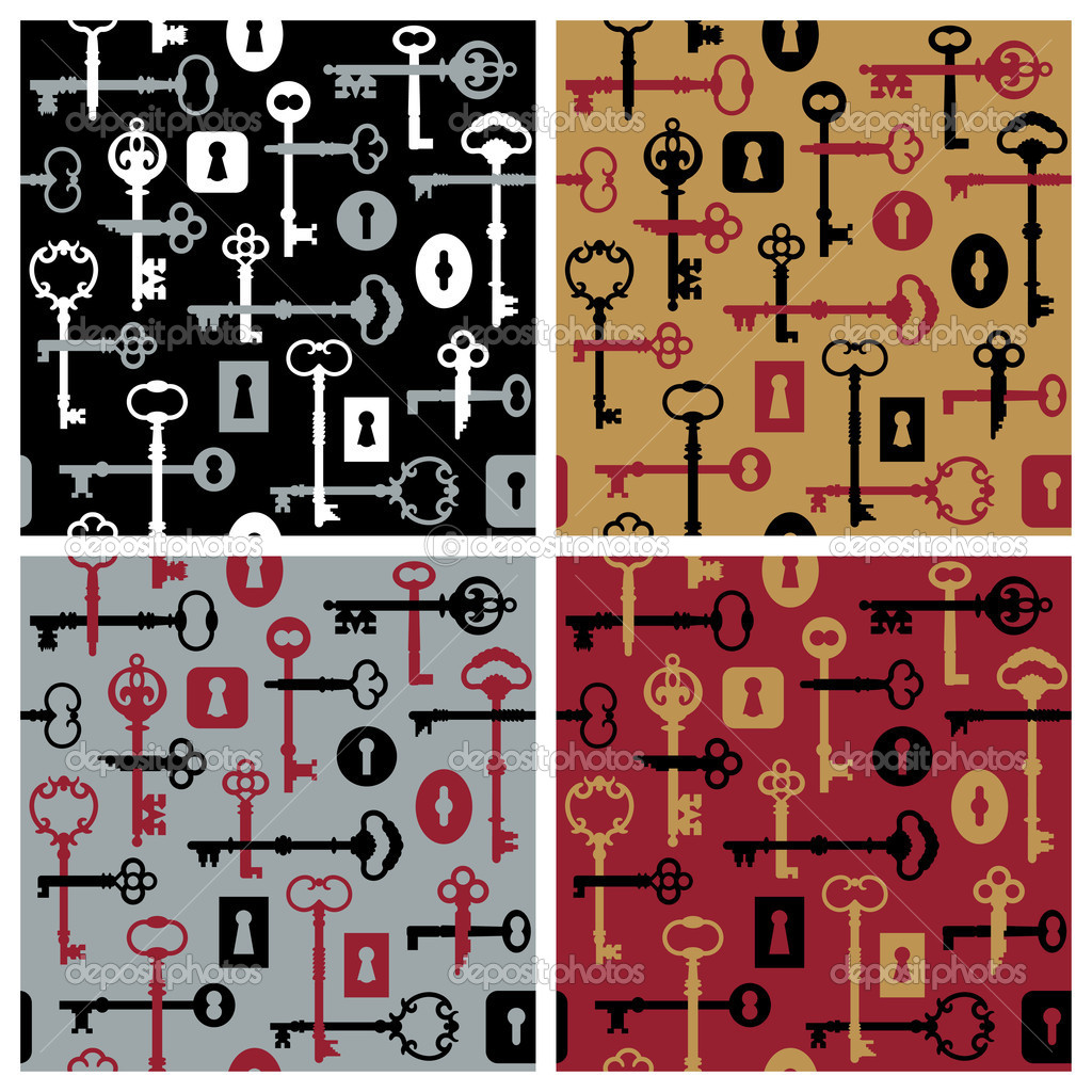 A retro pattern design of skeleton keys and locks in four colorways. — Stock Vector #3718846