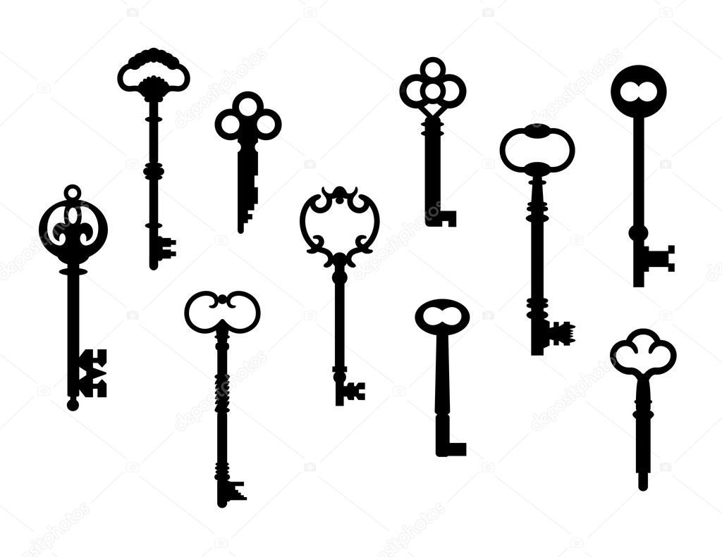 Ten skeleton key silhouettes referenced from actual antique keys. — Grafika wektorowa #3718905