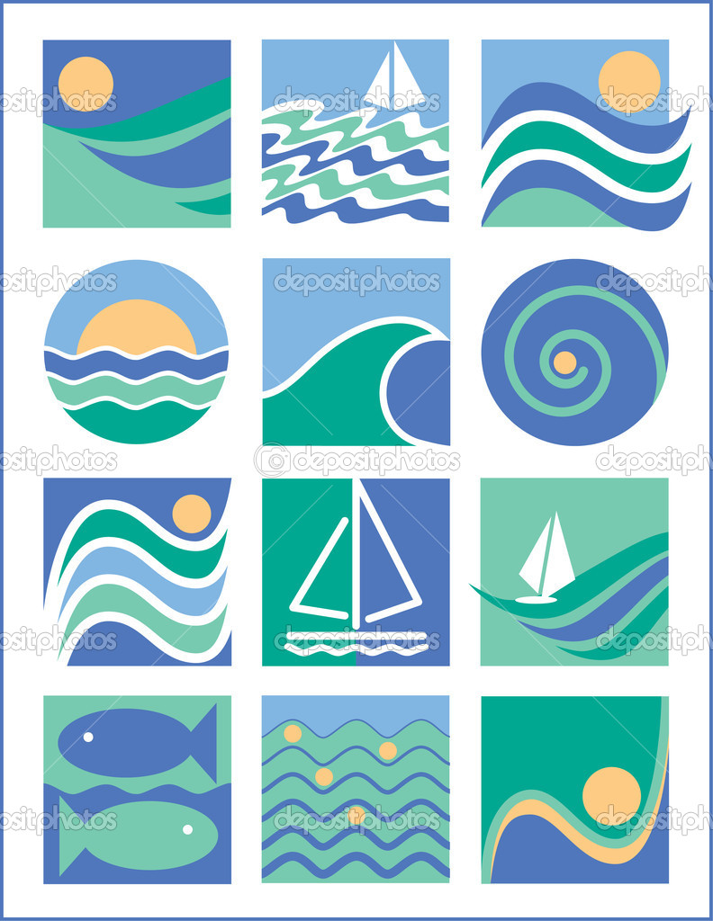Vector collection #1 of twelve icons with a water-sailing theme. — Stock Vector #3719109