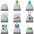 Hard disc management icons - Stock Photo