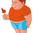 Stock Photo: Fat boy eating ice
