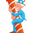 Stock Photo: Uncle sam on fireworks rocket