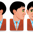 Avatar icons (facial expression:blink,rotate head,speak) — Stock Photo