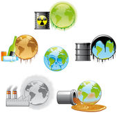 Environmental pollution icons — Stock Photo