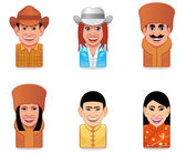 Avatar world icons(us,russian,chinese) — Stock Photo