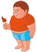 Fat boy eating ice — Stock Photo