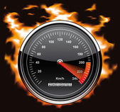 Speedometer involved in flames — Stock Photo