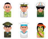 Avatar icons (army) — Stock Photo