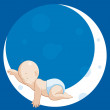 Baby sleeping on moon — Stock Photo