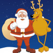 Santa and reindeer — Stock Photo