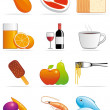 Food and beverages icons — Stockfoto