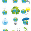 Green earth icons — Stock Photo