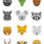 Wild animals icons — Stock Photo