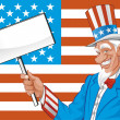 Stock Photo: Vector illustration Uncle sam with blank sign