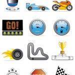 Motor racing icons — Stock Photo