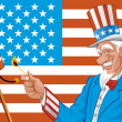 Stock Photo: Uncle sam in fourth of july
