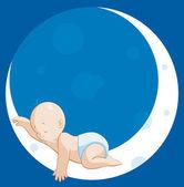 Baby sleeping on moon — Stock Photo