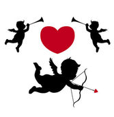 Silhouette cupid and music angels — Stock Photo