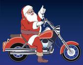 Santa motorcyclist — Stock Photo