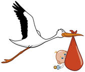 Stork and baby — Stock Photo