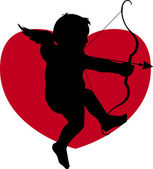 Silhouette cupid — Stock Photo
