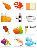 Food and beverages icons — Stock Photo