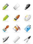 Drawing and painting tools icons — Stock Photo