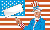 Vector illustration Uncle sam with blank sign — Stock Photo