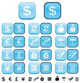 Finanza pulsanti con effetto spinto su e giù pulsante — Foto Stock