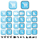 Shopping buttons with pushed effect — Stock Photo