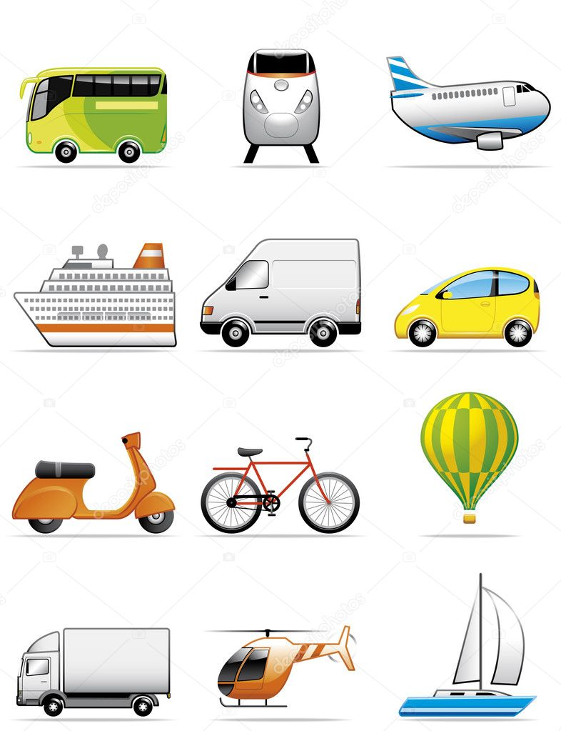 Illustration  Vehicles icons — Stock Photo #3887873