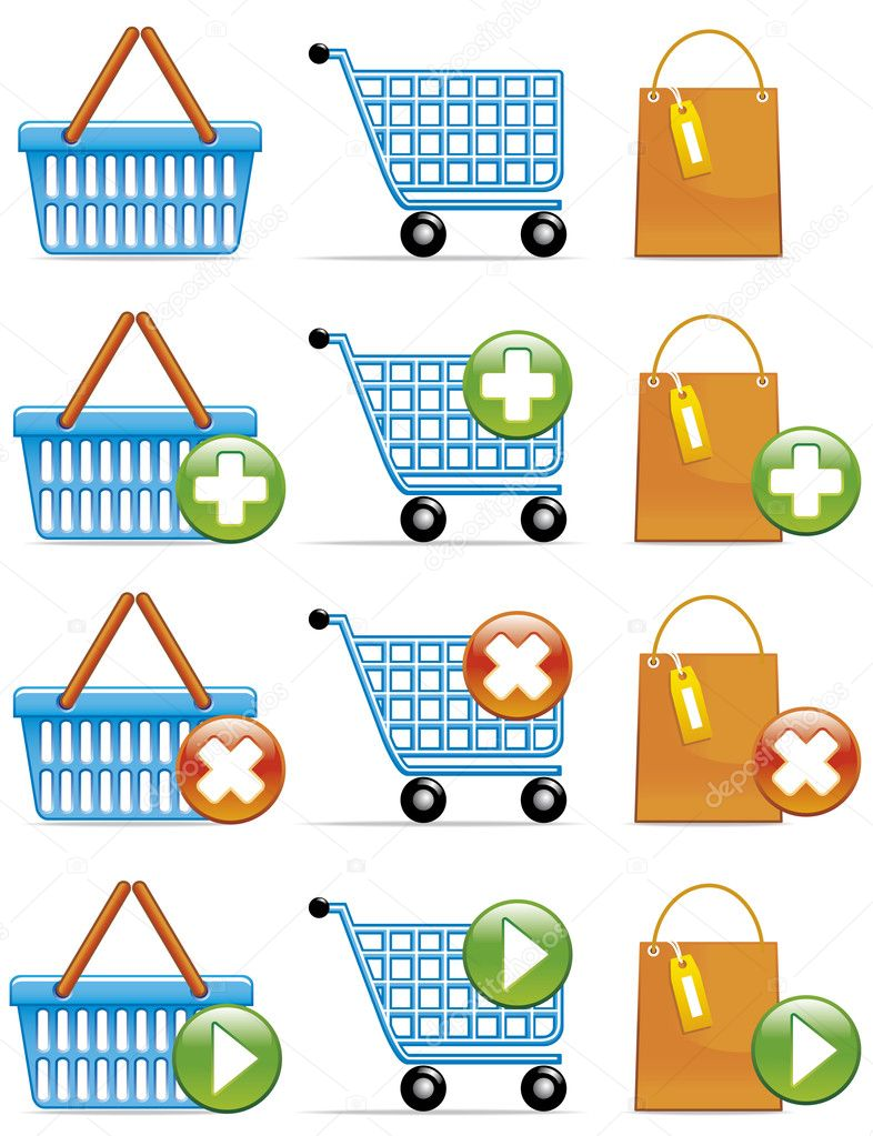 Illustration  Shopping basket,cart and bag icons Concepts:add,remove  and validate. — Stock Photo #3888073