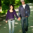 Young walks couple in forest — Stock Photo #3551931