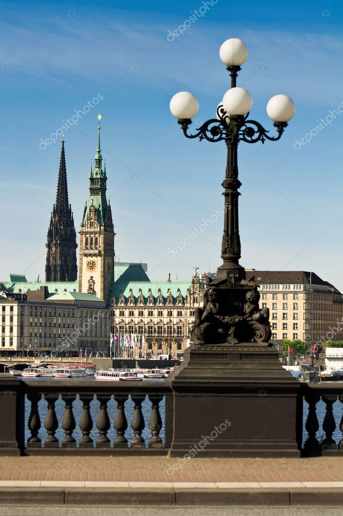 Buildings on the Alster in the city of Hamburg  Stock Photo #3673016