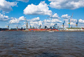 A dock in the port of Hamburg — Stock Photo