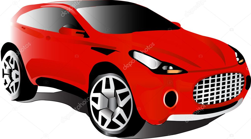 A front red car with chrome — Stock Vector #3648452