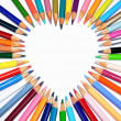 Colored pencil heart shape outline - Stock Photo