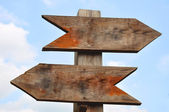 Two wooden Direction Signs — Stock Photo