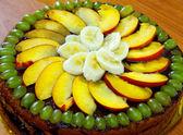Chocolate and fruit pie. — Stock Photo