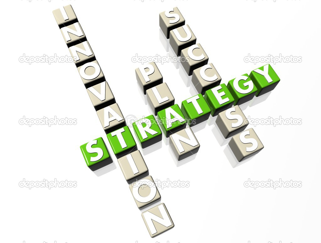 Strategy Crossword green text on white background — Stock Photo #4068141