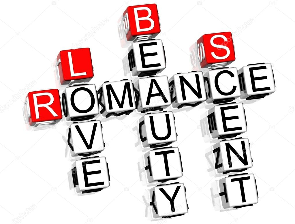 3D Romance Crossword text on white background  Stockfoto #4977565