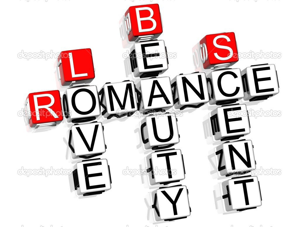 3D Romance Crossword text on white background  Stock fotografie #4977565