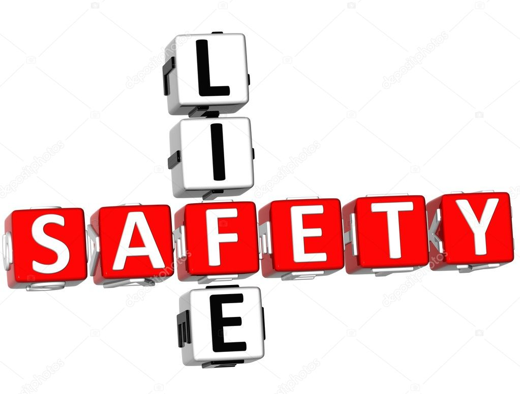 3D Safety Life Crossword on white background  Stock Photo #5066425