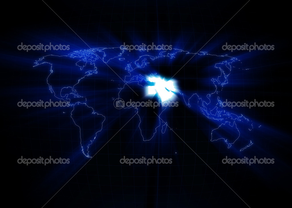 World map with the Middle East glowing with black background. — Foto Stock #3655589