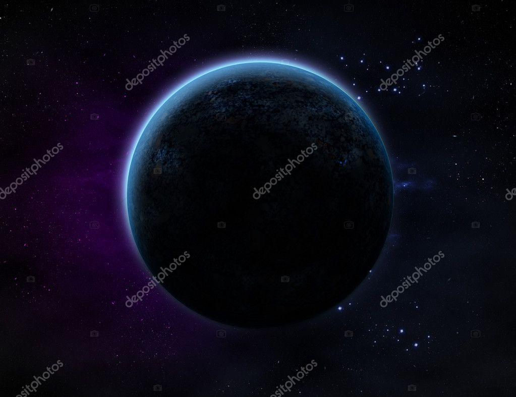 A planet with glow in outer space with lots of star and purple/blue haze. — Stock Photo #3888185