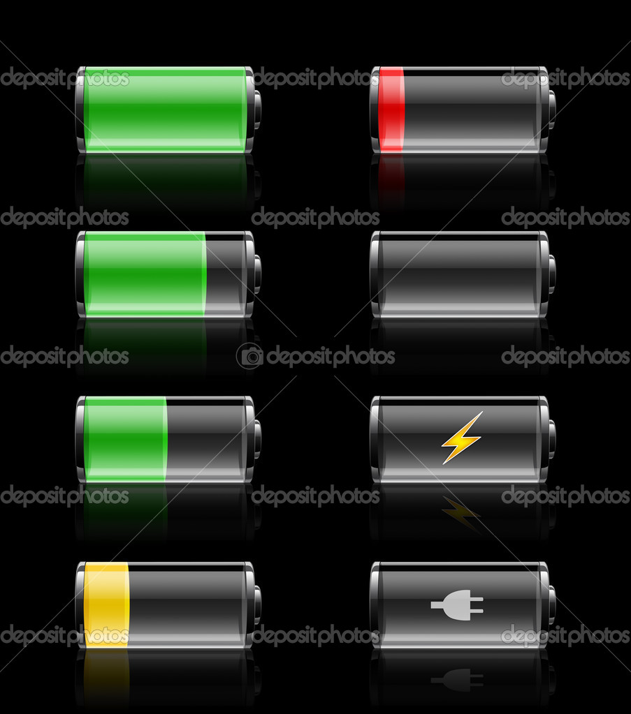 Batteries with various charges from fully charged to empty, on a black background with sleek reflections.  Stock Photo #3889199
