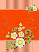 Sewn down floral orange decorative pattern — Stock Vector