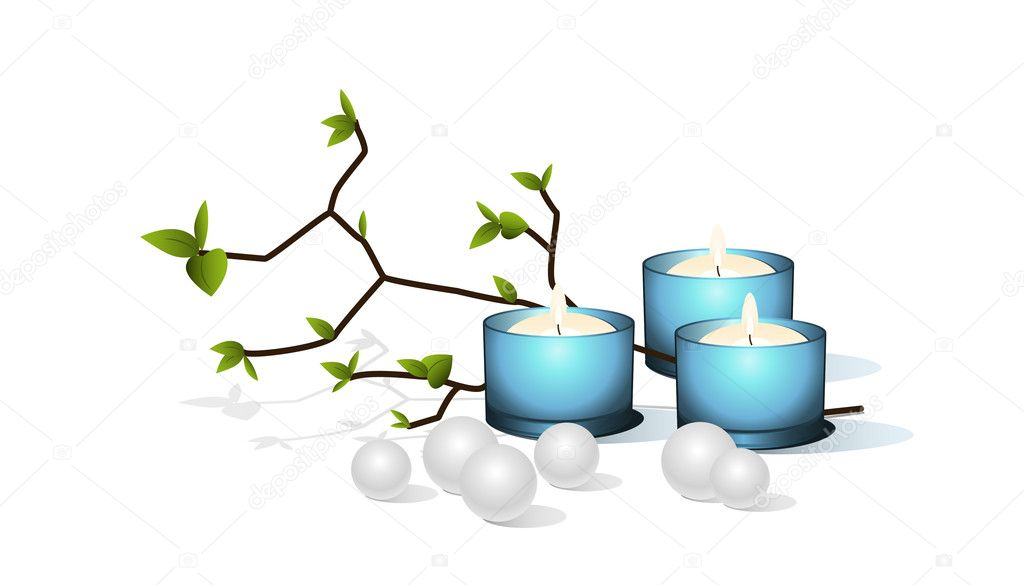 Blue candles and pearls. Vector illustration. — Stock Vector #3657887
