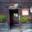 Stock Photo: Entry to old house and hanging daisies
