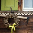 Window and hanging vintage gardening tools — 图库照片 #3570259